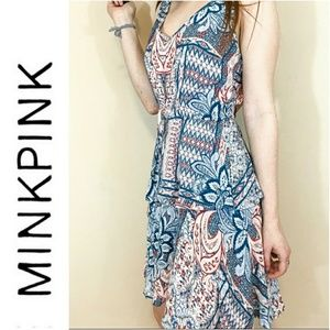 *Paisley Patterned MINKPINK Ruffled Mini Dress*